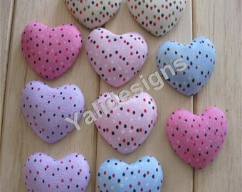 Handmade cloth covered buttons, Fabric Heart button, Dot Flat cloth button 35MM For Bags