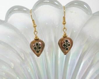 Copper and German Silver Heart Earrings