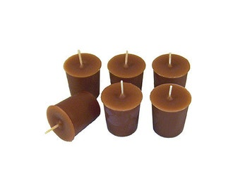 12 Brown Classic Hand-poured Unscented Votive Candles