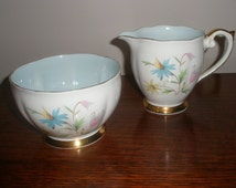 Sale : 1960's Queen Anne Bone China England Creamer and Sugar Set