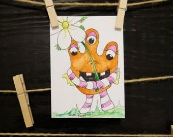 Monster Thank You Card-Three Eyed-Handmade-Free Shipping!