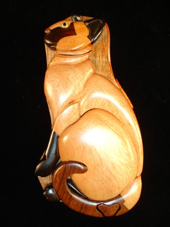 Hand carved wood art intarsia siamese cat puzzle by
