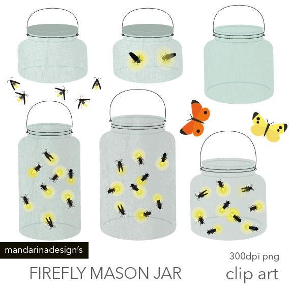 Mason Jar Fireflies Light Bug Handrawn Clipart Digital Clip Art Graphics For Scrapbooking Web Design DIY Printable Instant Download