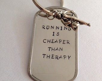 CLEARANCE: Running is Cheaper Than Therapy Keychain