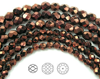 6mm (68pcs) Jet Bronze coated, Czech Fire Polished Round Faceted Glass Beads, 16 inch strand