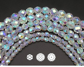 4mm (102pcs) Crystal AB2X fully coated, Czech Fire Polished Round Faceted Glass Beads, 16 inch strand