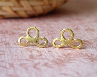 Gold Studs - 18K Gold Earrings - Ribbon