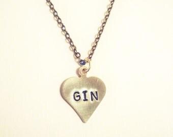I Heart GIN tiny handmade necklace