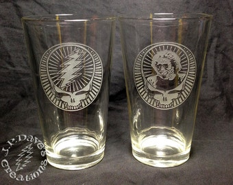 Set of 2 Etched Grateful Dead Sandblasted Pint Glasses, Mix & Match Images, 16oz Beer Glass, Tumbler