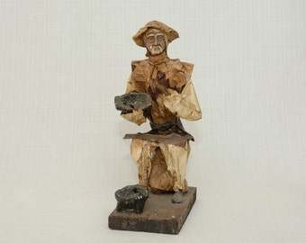 Vintage  EB M.R. Mexican Paper Mache Folk Art Figure Man with Bowls.