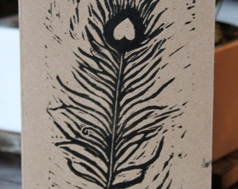 Greeting Card - Blank Note Card - Feather - Linocut - 5x7