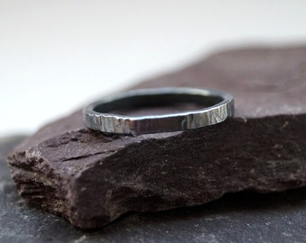 Simple Hammered Sterling Silver Ring ~ stacking ring