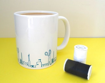 Gifts for her, sewing room accessory, coffee cup, unique crafty gift, unusual sewing gift, secret santa gift, seamstress gift