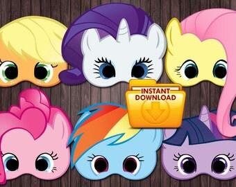 6 My little pony printable masks Birthday Party - Custom DIY