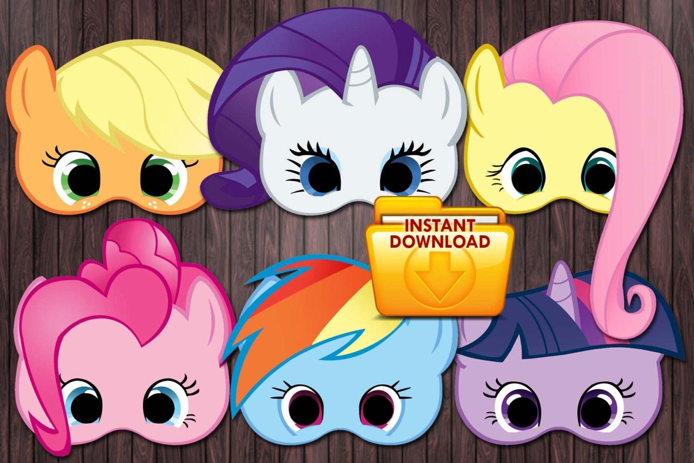 6 My little pony printable masks Birthday Party Custom DIY
