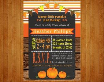Fall Baby Shower Invitation or Pumpkin Birthday Party Invitation chalkboard