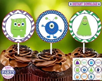 Monater Party Cupcake toppers, Instant Download, green and blue, boy birthday, Monster party theme, print from home, DIY, coordinating items