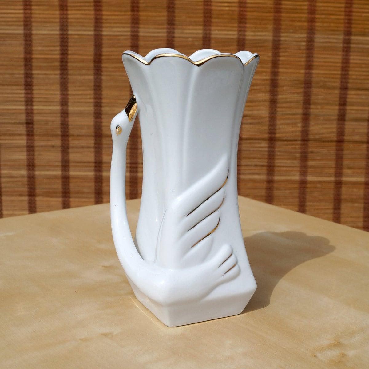 Vintage Porcelain Swan Vase Fine Quality Porcelain white