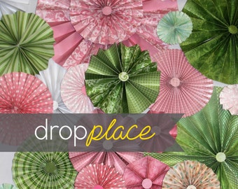 3x4 / 5x6 / 6x8 Durable Matte Vinyl Backdrop / Pinwheel / Rosettes / Green and Pink Palette