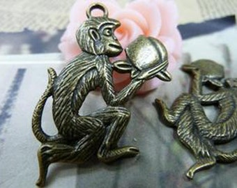 5pcs 26x40mm Antique Bronze Lovely The Offering Peach Monkey Charms Pendant c1391-6