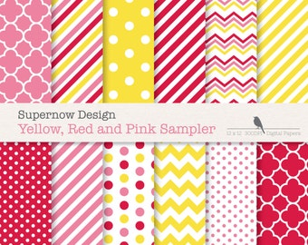 FREE COMMERICAL use 40% Off Simple Pink, Red and Yellow Digital Papers. Scrapbooking papers. Chevrons, Stripes, Polka Dots, Quatrefoil.