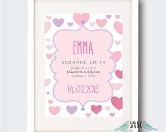 Lovely Hearts Nursery Birth Stat Print