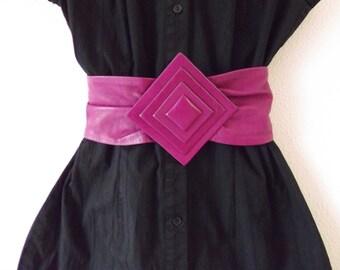 80's Fuschia Leather Belt Sm