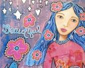 Flower Child Giclee Print 10x10 Mixed Media