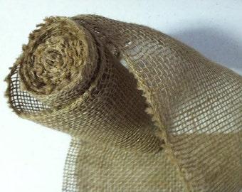 "5 YARDS, 5.5"" Wide Natural Burlap Ribbon, Serged edges"