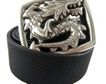 Perpetual Vogue Black Leather Belt with Dragon Belt Buckle Rocker Belt Dragon Belt