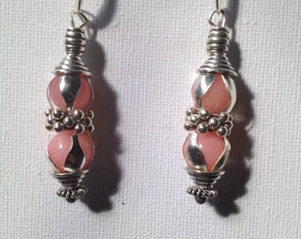 Pink Natural stone bead earrings