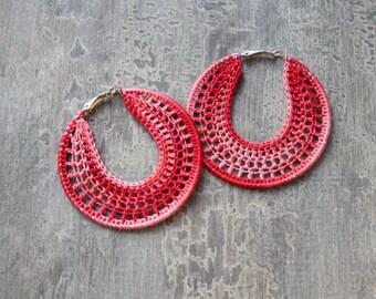 Handmade Earrings, Crocheted Hoops 60mm, Silver Plated, Round Dangle Earrings, Beaded, Lace, Dangling, Party Girl, Summer Heat