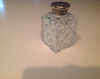Cut glass dresser jar with sterling top