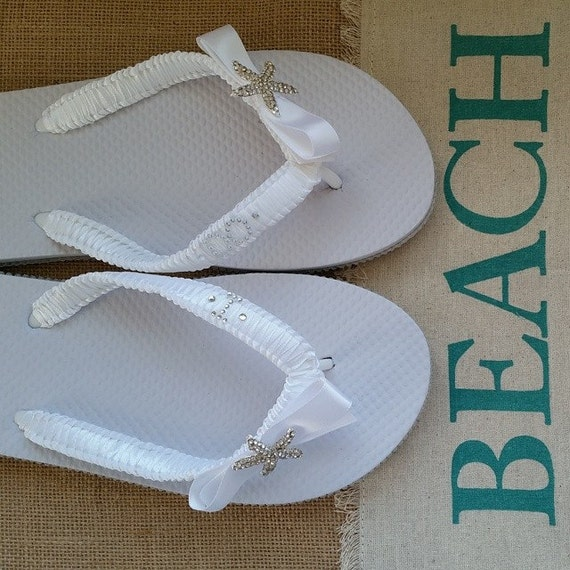 do flip flops white beach wedding bridal flip flops embellished