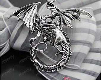 27063 Jewelry Findings,Accessories,charms,pendants,Antique Silver Dragon 10PCS