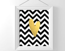 Digital printable gold foil heart black and white chevron wall decor poster Digital INSTANT DOWNLOAD