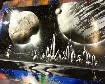 THE CITY - Spray Paint Art - (22 in x 14 in) Space Painting