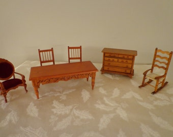 Set of Miniature Furniture in the Victorian Style, Mini Doll Furniture, Vintage Doll House Collectibles