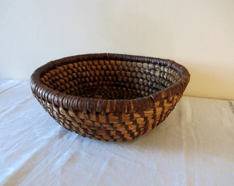 Antique French Rye Straw Coiled Basket Home Decor
