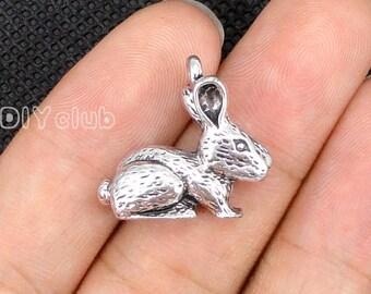 10pcs of Antique Tibetan silver Rabbit Charms pendant  3D  22x20mm
