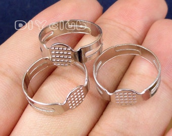 50pcs of  Antique Silver Adjustable Ring Bases with 8mm Glue Pad