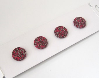 4 red and black fabric covered buttons, 4 fabric covered buttons, sewing supplies, haberdashery supplies, uk supplier cardmaking supplies