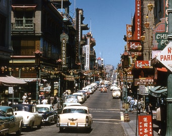 San Francisco China Town 1955 from 35mm kodachrome slide