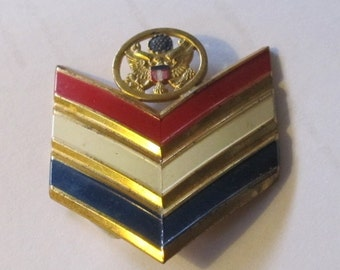 WWII era Patriotic Pin with Red-White-Blue Chevrons