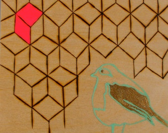 Mixed media, Wood Burning, Gouache, Bird, Original, Wood Panel, Metallic, Sketch, Pink, Gold, Artwork, Teal, Fluorescent, Geometric,Abstract