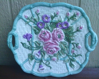 Lovely Platter with Handles and a Floral design, OMNIBUS.