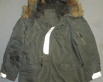 Vintage 60s VIETNAM USAF N-3B  SageFlying Parka Jacket Puffy Fur Hood Size XL