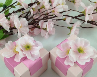25 Pink Favor Boxes, Cherry Blossoms, Candy Holder, Gift Box, Party Favor Box