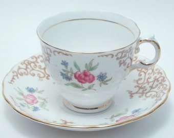 Colclough Vintage Fine Bone China Tea Cup and Saucer Brown Scroll Design Pink Blue Flowers Green Leaves Gold Trim