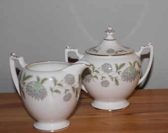 "Vintage Coalport Cream and  Sugar "" Waltz of the Flowers""-Coalport China Creamer and Sugar Bowl-High Tea Milk Pitcher and Covered Sugar Bowl"